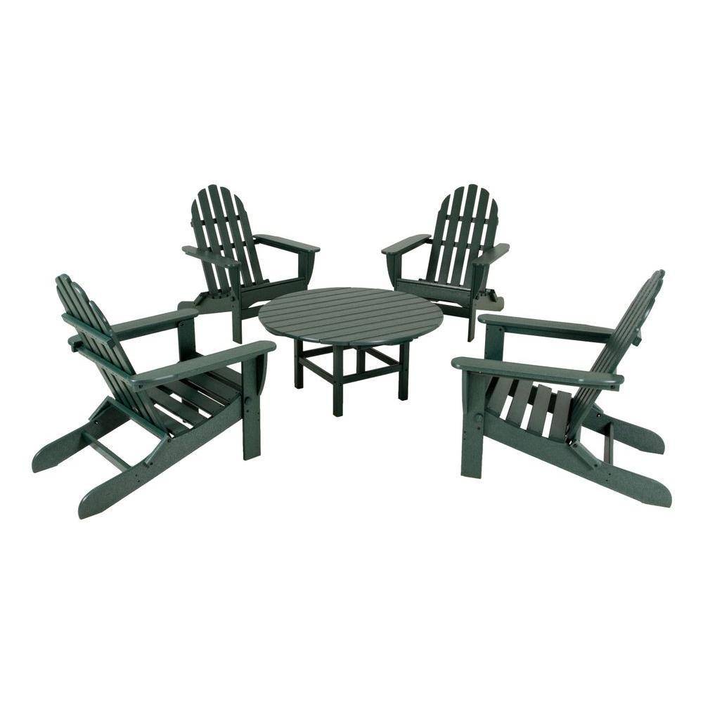 Classic Green 5-Piece Folding Adirondack Patio Conversation Set