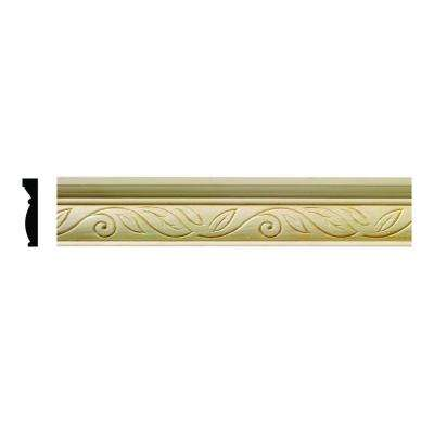 1613 1/2 in. x 2-1/4 in. x 6 in. Hardwood White Unfinished Clean Scroll Large Chair Rail Moulding Sample