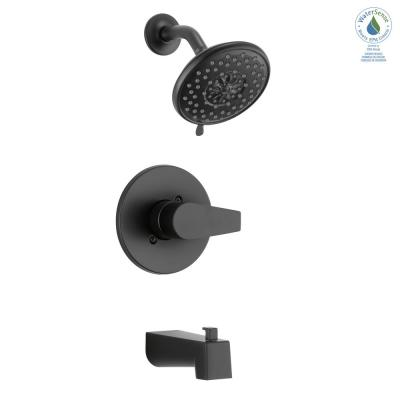 Xander 1-Handle Wall Mount Tub and Shower Trim Kit in Matte Black (Valve not Included)