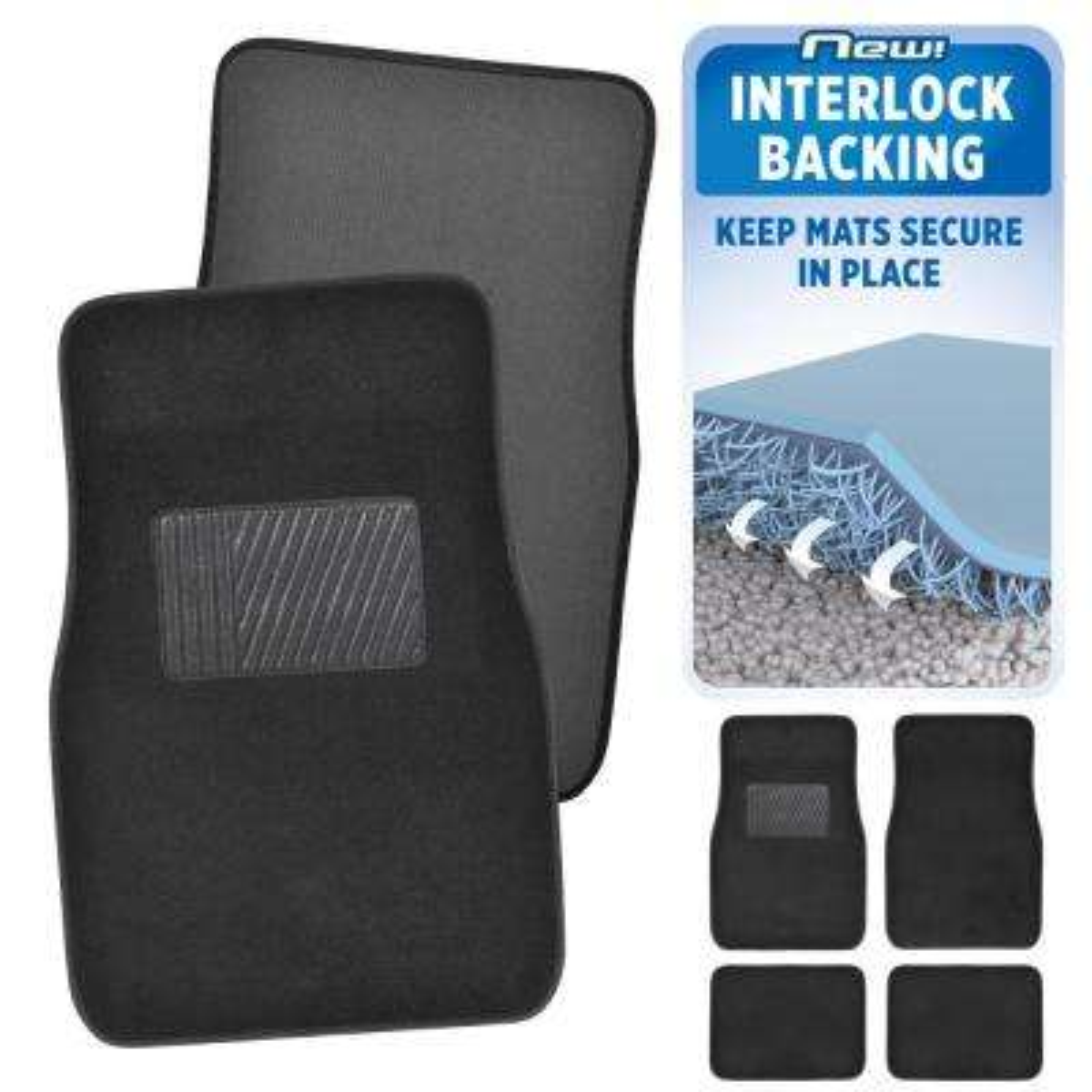 MatLock MT-120 Black Carpet with Non-Slip Backing 4-Piece Car Floor Mats