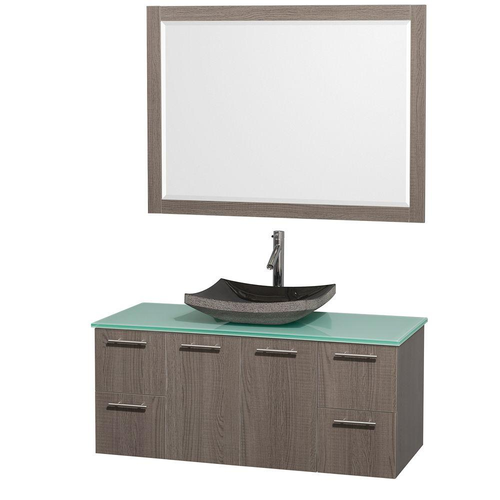 Wyndham Collection Amare 48 in. Vanity in Grey Oak with Glass Vanity Top in Aqua and Black Granite Sink