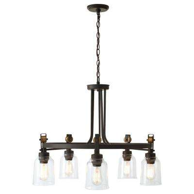 Knollwood 5-Light Antique Bronze Chandelier with Vintage Brass Accents and Clear Glass Shades