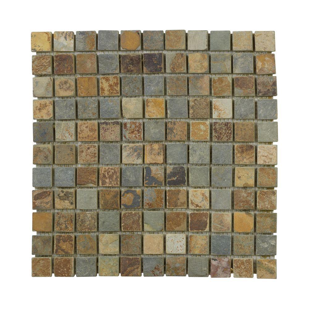 Slate 12 in. x 12 in. x 8 mm Mosaic Floor/Wall Tile