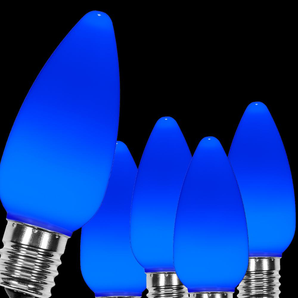 Wintergreen Lighting Opticore C9 Led Blue Smooth Opaque Christmas Light Bulbs 25 Pack