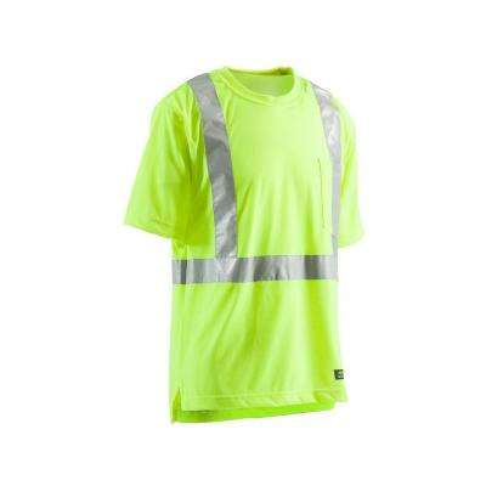 Men's 6 XL Tall Yellow 100% Polyester Hi-Vis Type R Class 2 Pocket T-Shirt