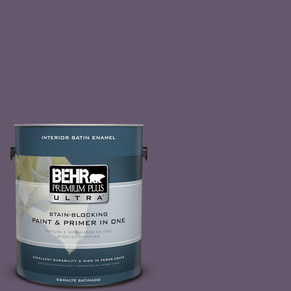 BEHR Premium Plus Ultra 1-Gal. #PPU17-4 Darkest Grape Satin Enamel Interior Paint