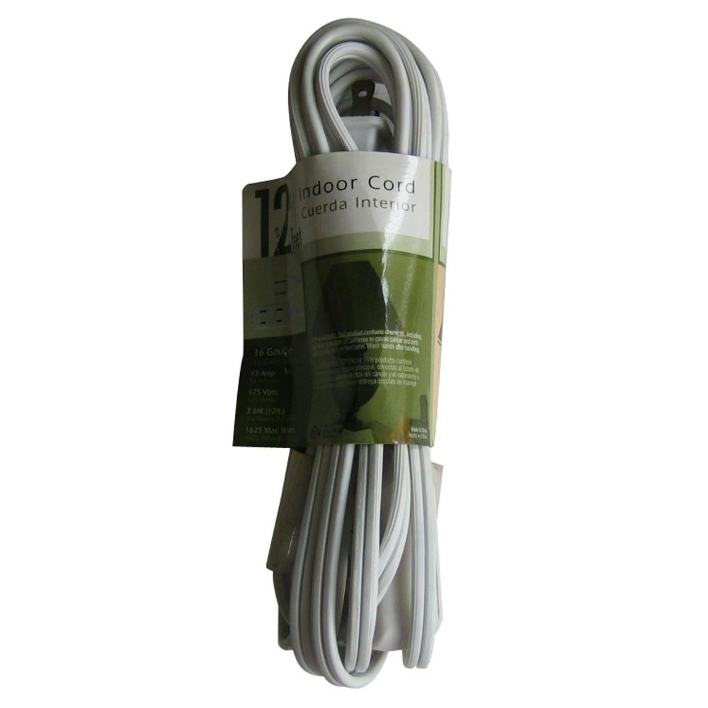 null 12 ft. 16/2 SPT-2 Cube Tap Extension Cord - White