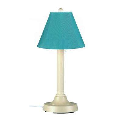 San Juan 30 in. Bisque Outdoor Table Lamp with Aruba Shade