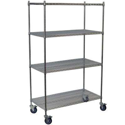 80 in. H x 36 in. W x 24 in. D 4-Shelf Steel Wire Shelving Unit in Chrome
