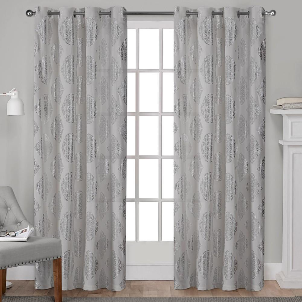 Augustus 54 in. W x 84 in. L Cotton Grommet Top Curtain Panel in Silver (2 Panels)