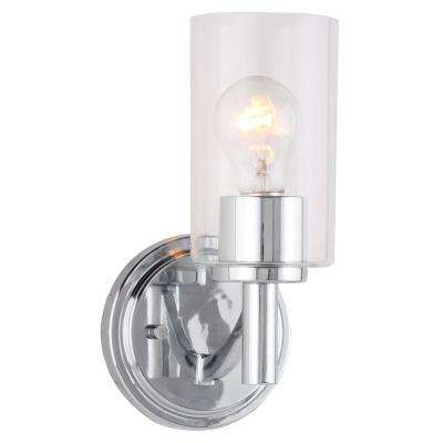 Devora 1-Light Chrome and Clear Class Wall Sconce