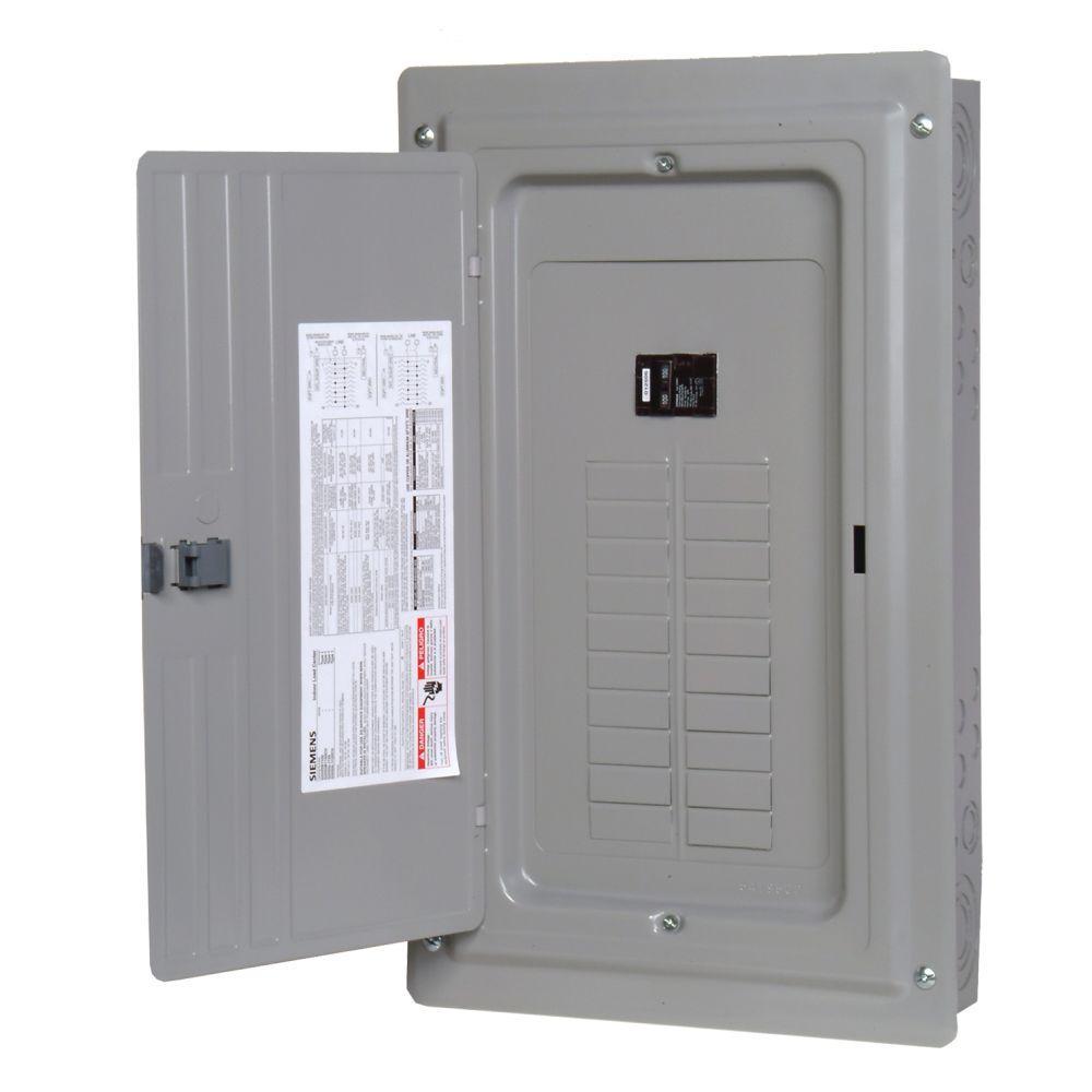 Siemens es series 100 amp 20 space 24 circuit main breaker for Best circuit breaker panel