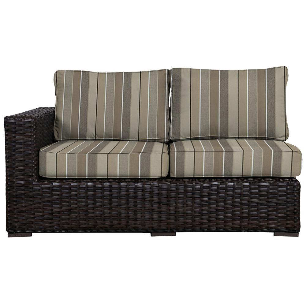 Santa Monica Patio Wicker Right Arm Outdoor Sectional Chair with Sunbrella Milano Char Cushion