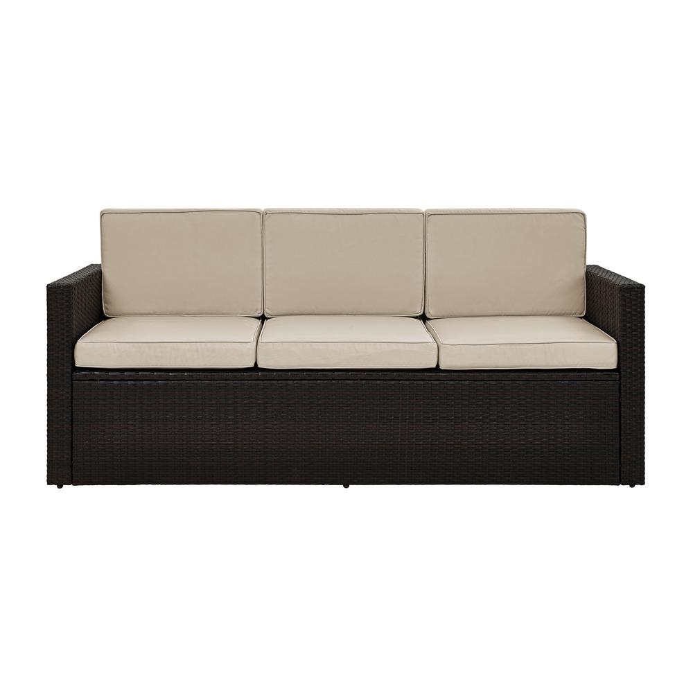 Crosley Palm Harbor Wicker Outdoor Sofa with Sand Cushions