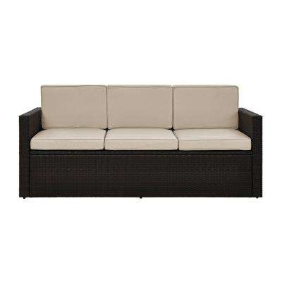 Palm Harbor Wicker Outdoor Sofa with Sand Cushions