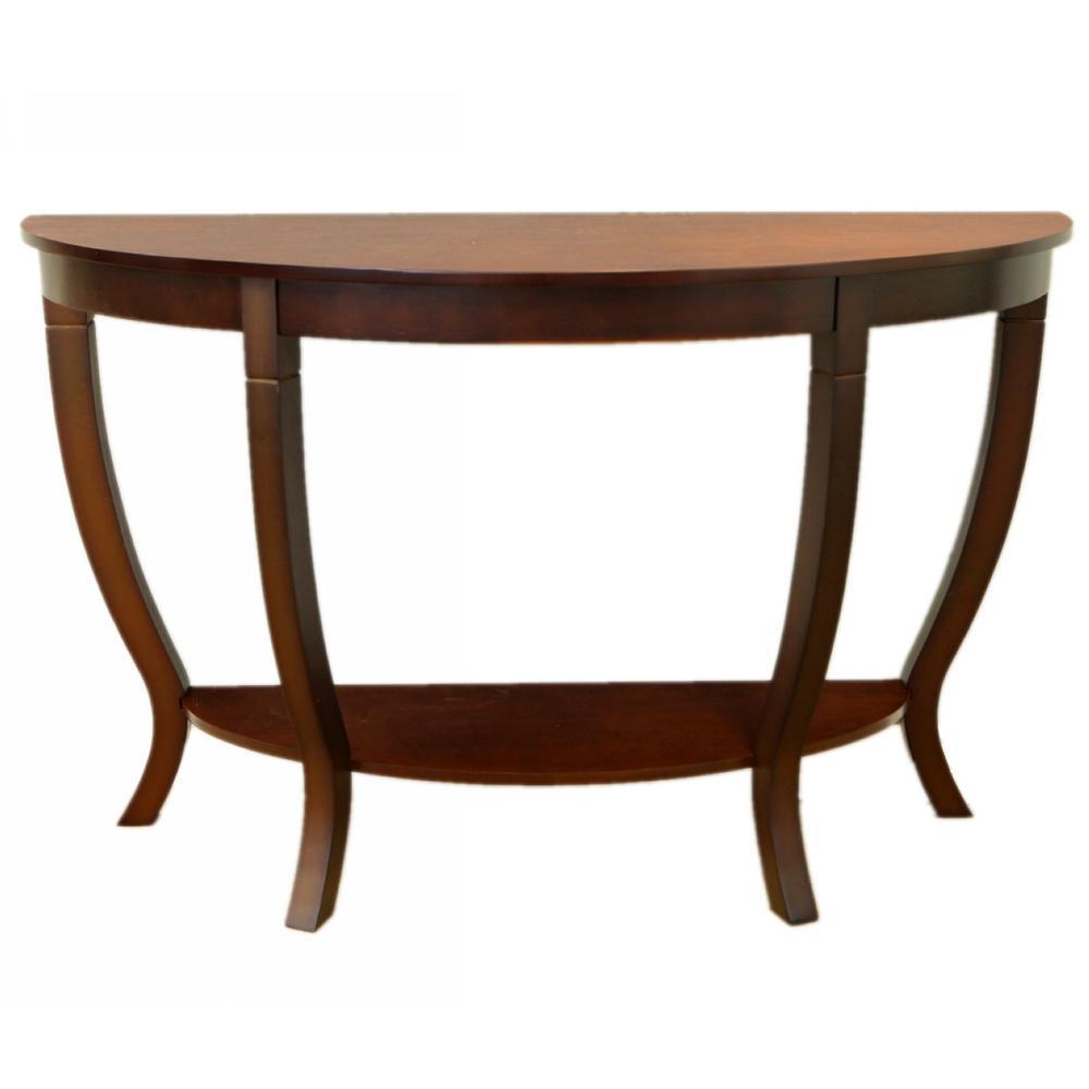 megahome lewis dark walnut wood sofa table rvmh155 the home depot. Black Bedroom Furniture Sets. Home Design Ideas