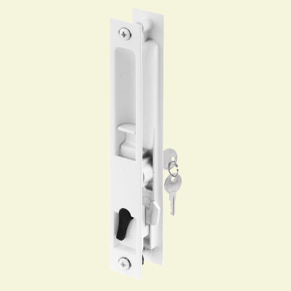 Prime Line White Painted Flush Mounted Sliding Patio Door With Keyed Internal Hook Latch Mechanism