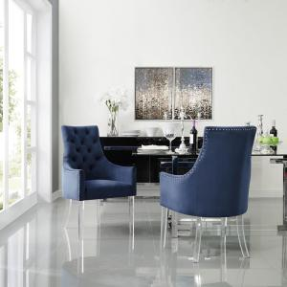 Winona Navy Velvet Acrylic Leg Dining Chair (Set of 2)