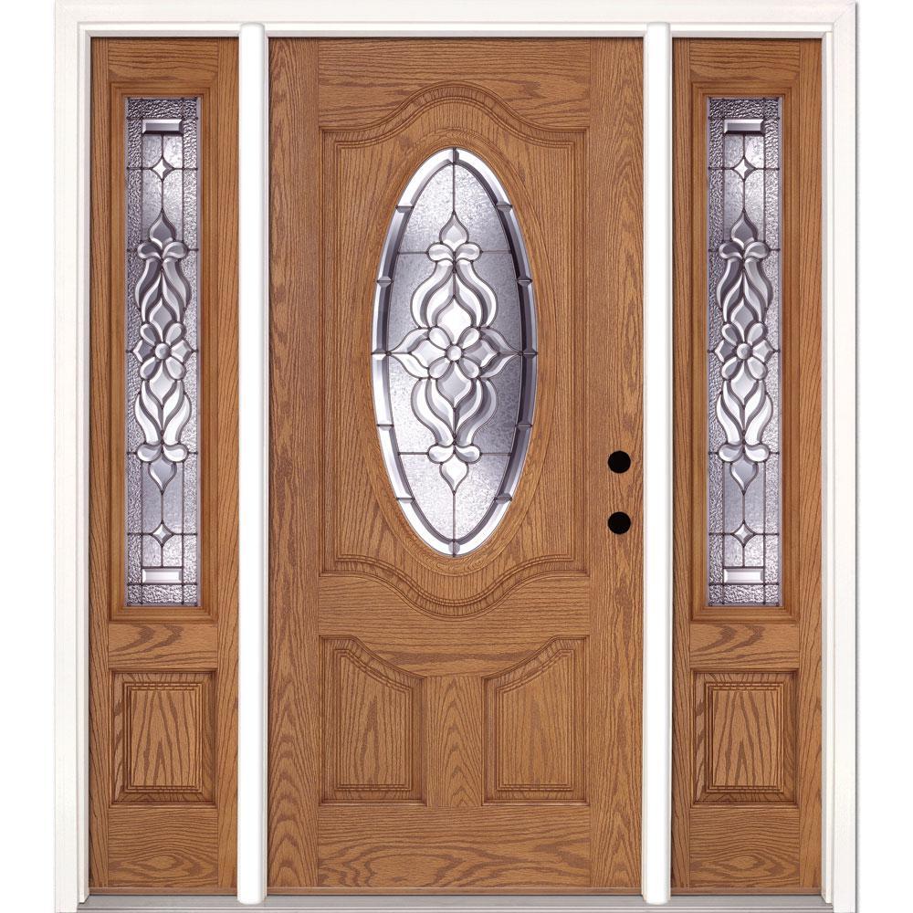 63.5 in. x 81.625 in. Lakewood Zinc 3/4 Oval Lite Stained Light Oak Left-Hand Fiberglass Prehung Front Door w/ Sidelites