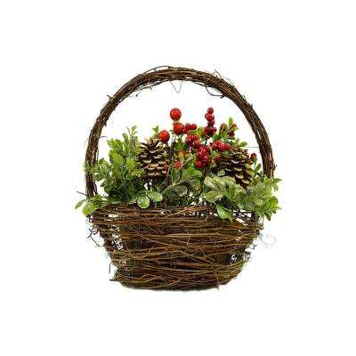 12 in. Pine Cones Berries and Boxwood in Twig Basket Christmas Tabletop Decoration