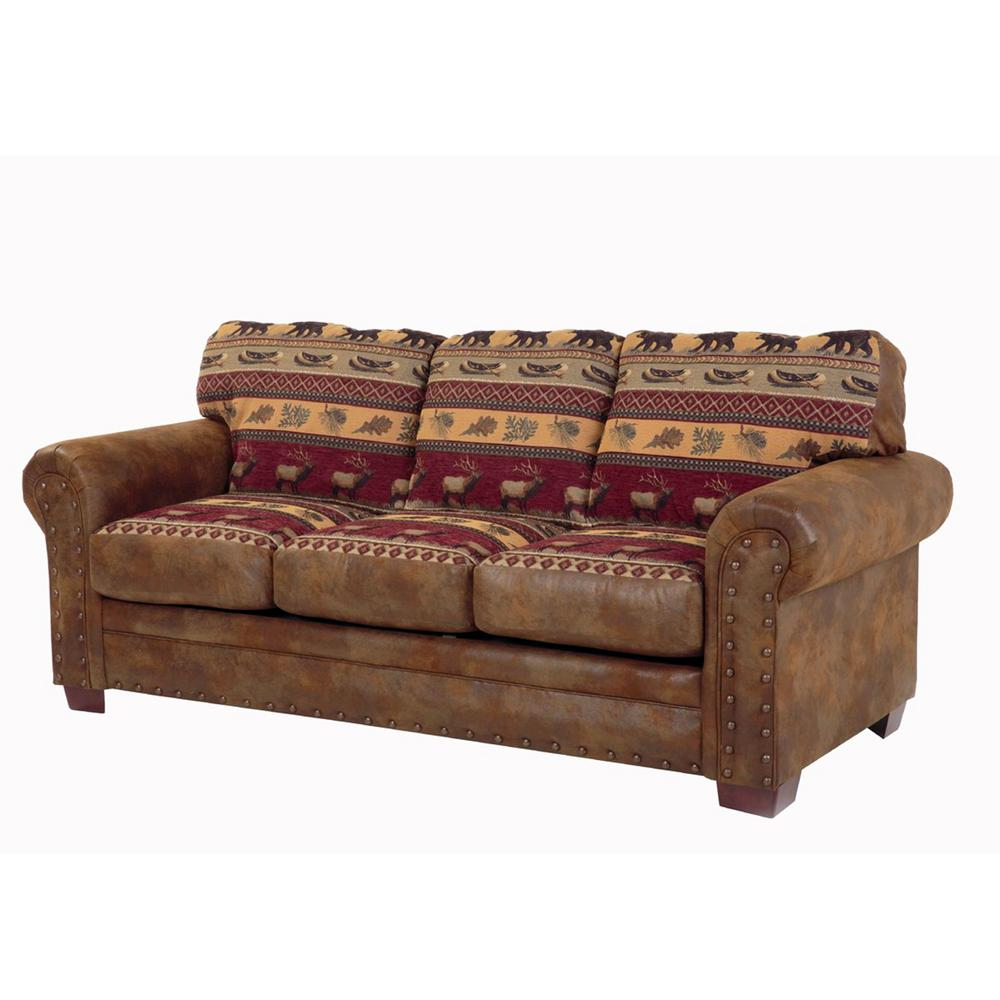 American Furniture Clics Sierra Lodge Multi Microfiber And Tapestry Pattern With Nail Head Accents Sofa