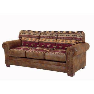 Sierra Lodge Multi Microfiber and Tapestry Pattern with Nail Head Accents Sofa