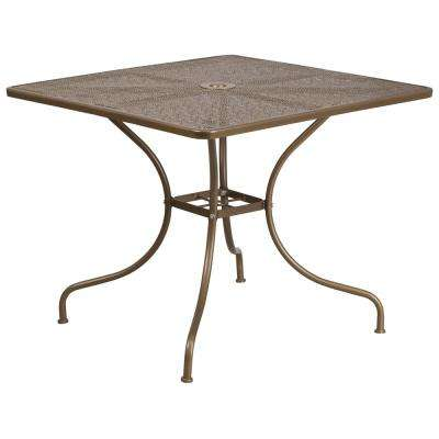 Gold Square Metal Outdoor Bistro Table