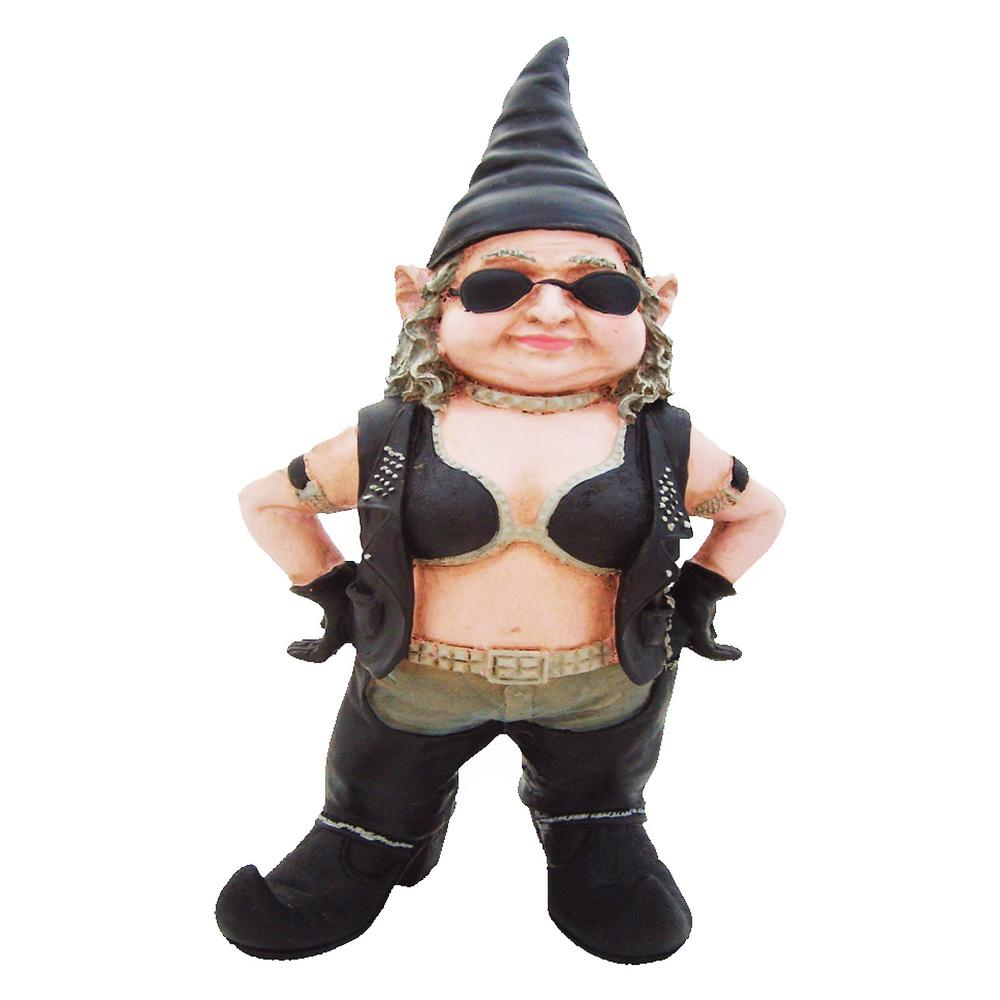 8.5 in. H Biker Babe the Biker Gnome in Leather Motorcycl...