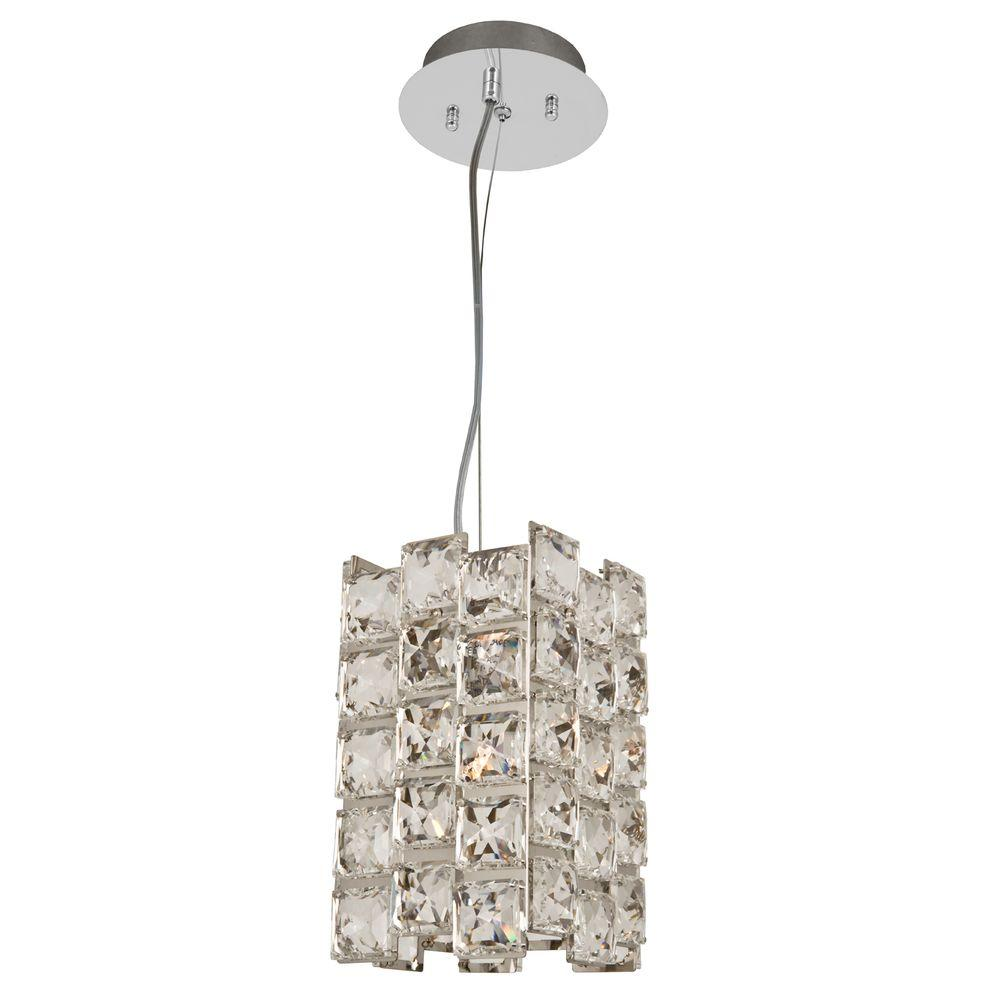 Decor Living 1 Light Chrome Crystal Mini Pendant