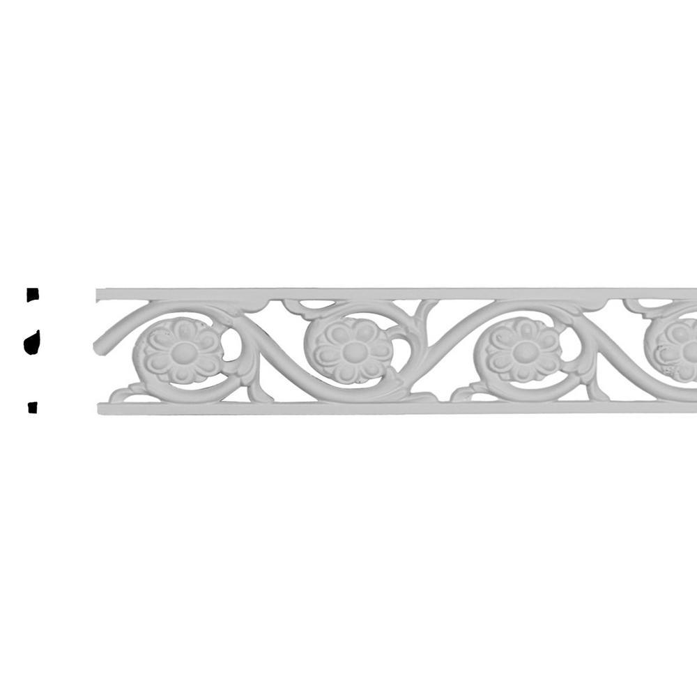 Ekena Millwork 2-1/8 in. x 3/8 in. x 79 in. Polyurethane Delfina Pierced Panel Moulding