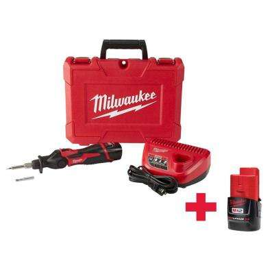 M12 12-Volt Lithium-Ion Cordless Soldering Iron Kit W/ (1) 1.5Ah Batteries, Charger, Hard Case & Free 3.0Ah Battery