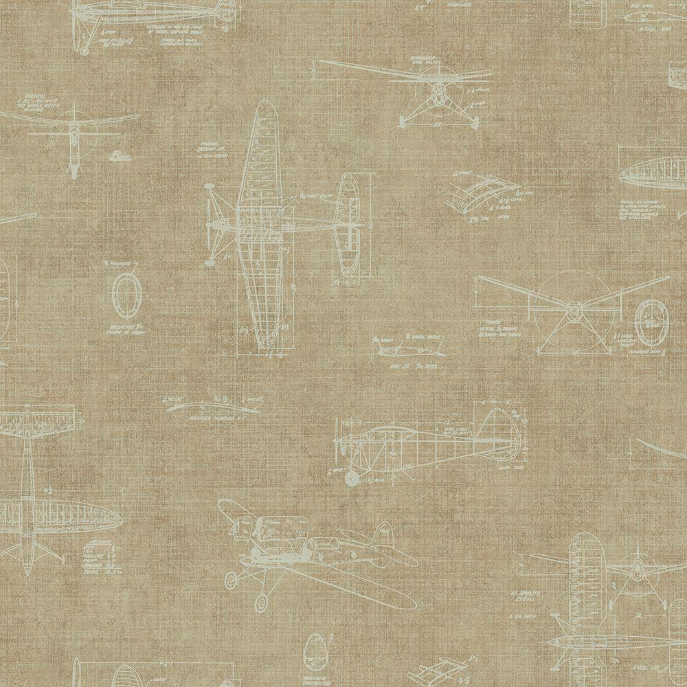Chesapeake Beckett Beige Scroll Texture Wallpaper