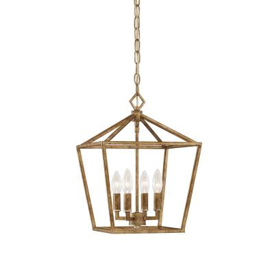 4-Light 12 in. Wide Vintage Gold Taper Candle Pendant