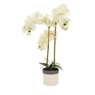 Faux Orchid Flower Pot