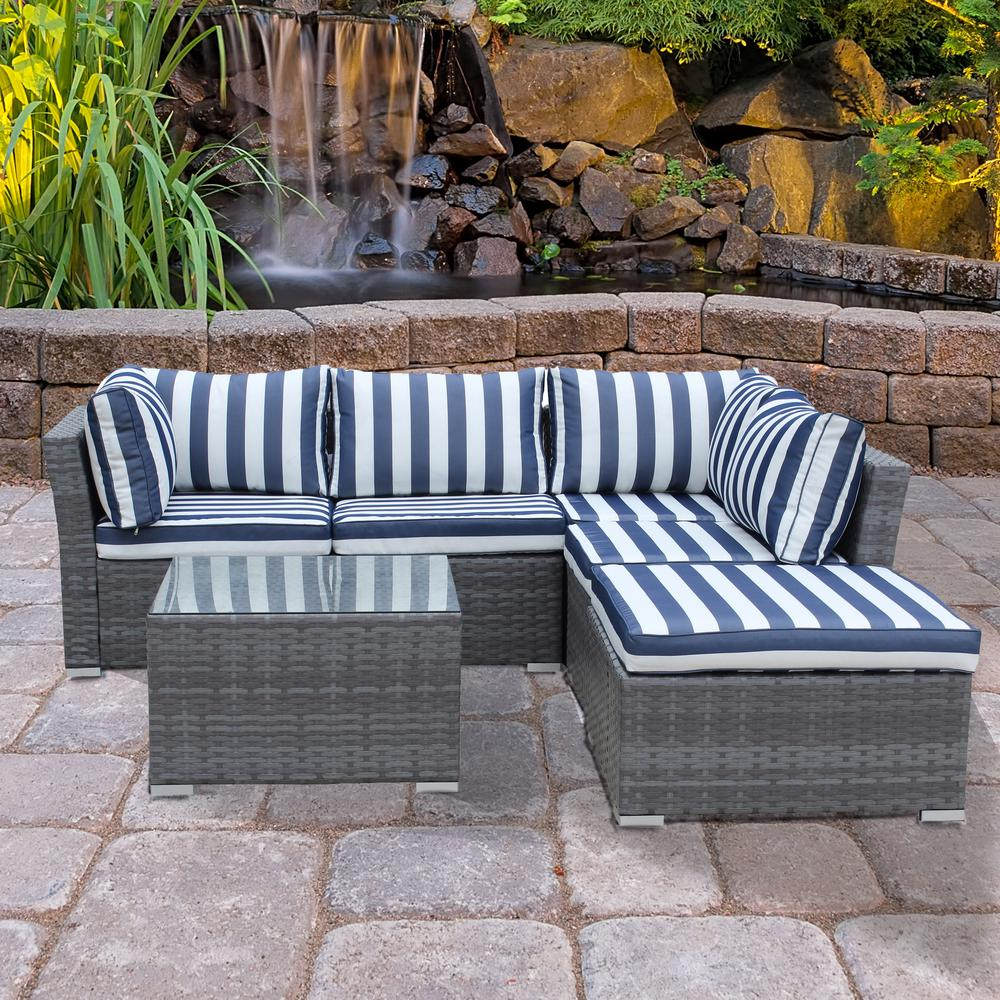 Jicaro Gray 5-Piece Wicker Outdoor Sectional Set with Blue Stripe Cushions