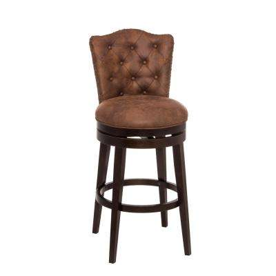 Edenwood 26 in. Chocolate Swivel Cushioned Bar Stool