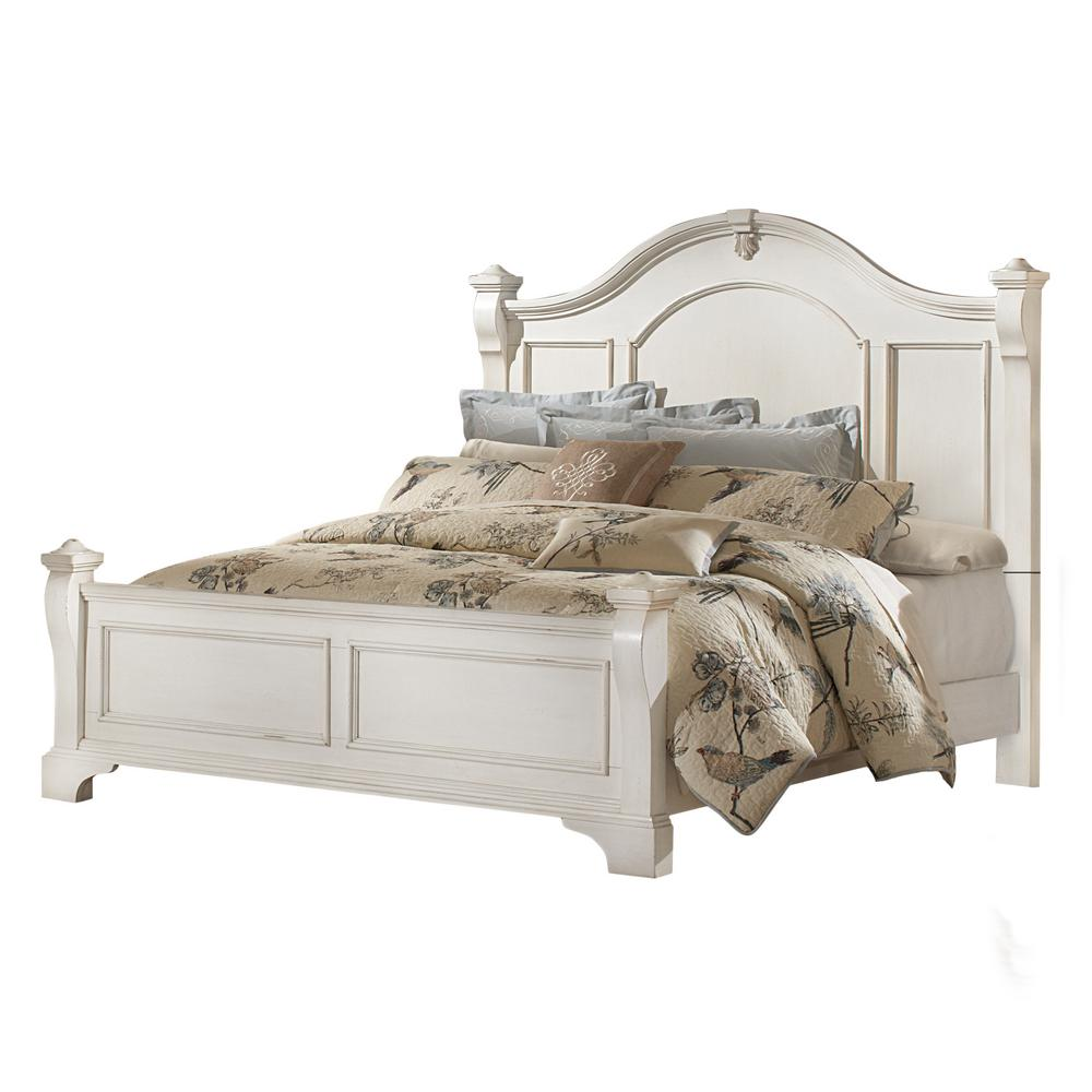 American Woodcrafters Heirloom Antique White Queen Poster Bed