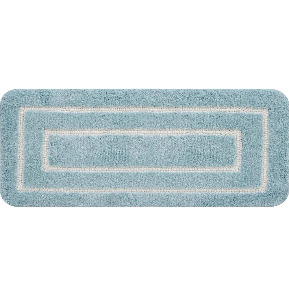 Borders Foam Aqua 60 in. x 24 in. Polyester Bath Mat