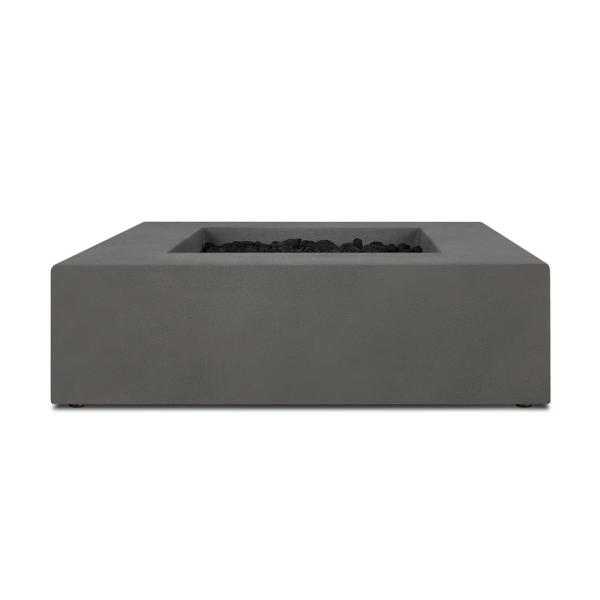 Matteau 40 in. Square Concrete Composite Natural Gas Fire Table in Carbon with Vinyl Cover