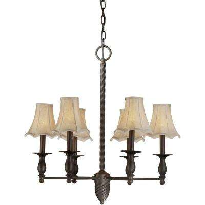 6-Light Antique Bronze Chandelier with Fabric Shades