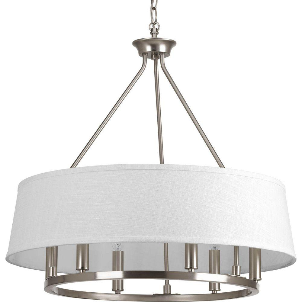 Progress Lighting Cherish Collection 6 Light Brushed Nickel Chandelier With Summer Linen Shade