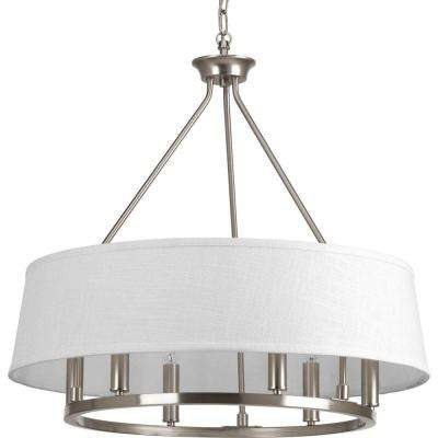 Cherish Collection 6-Light Brushed Nickel Chandelier with Summer Linen Shade