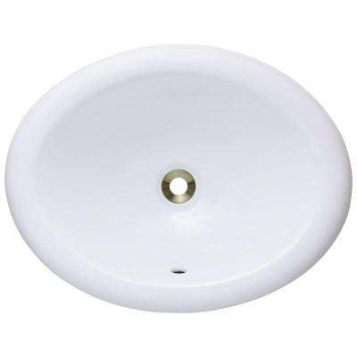 Overmount Porcelain Bathroom Sink  Oval No Faucet Hole White Drop in Sinks