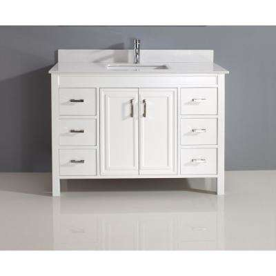 Dawlish 48 in. Vanity in White with Solid Surface Marble Vanity Top in White