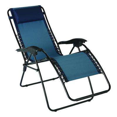 Zero Gravity Patio Chaise Lounger in Blue