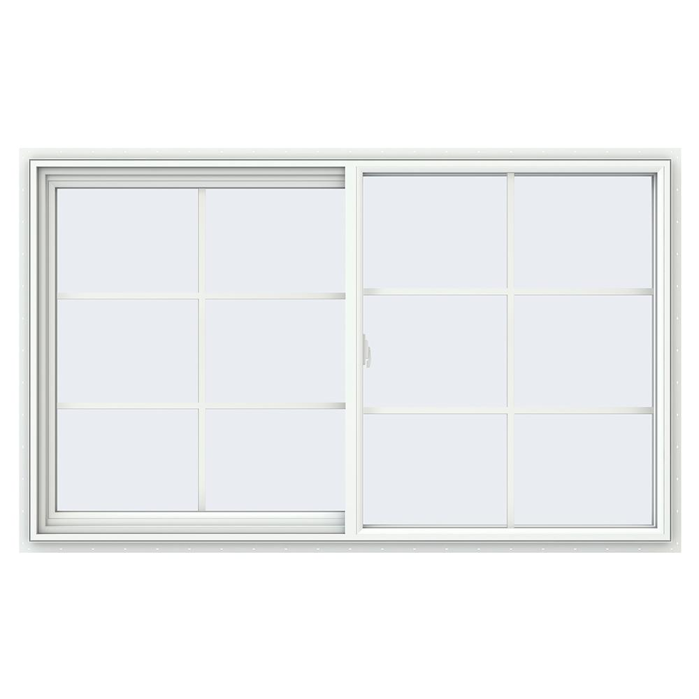 JELD-WEN 59.5 in. x 35.5 in. V-2500 Series White Vinyl Left-Handed Sliding Window with Colonial Grids/Grilles