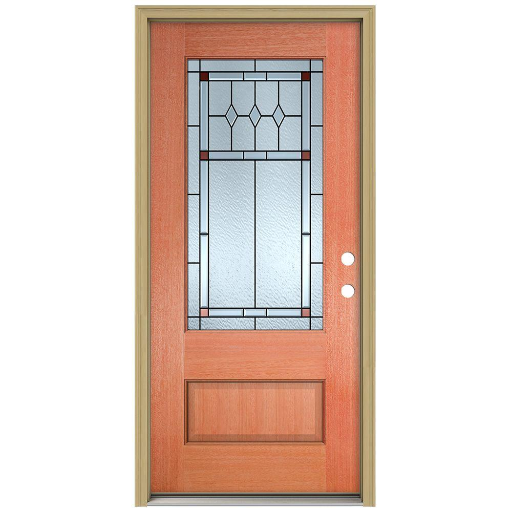 JELD-WEN 36 in. x 96 in. Ashmore 3/4 Lite Unfinished Mahogany Wood Prehung Front Door with Brickmould and Patina Caming