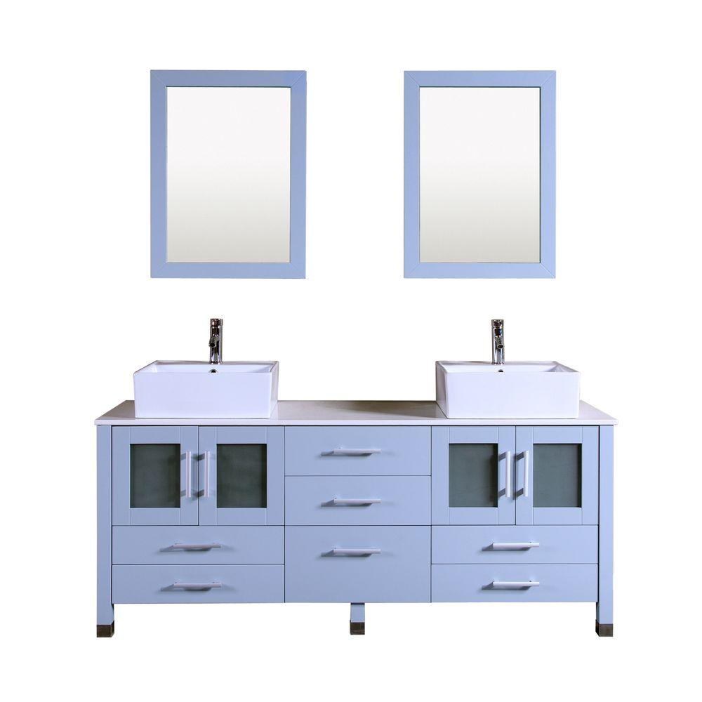Kokols Double Vanity Grey Stone Vanity Top White Basin Mirror