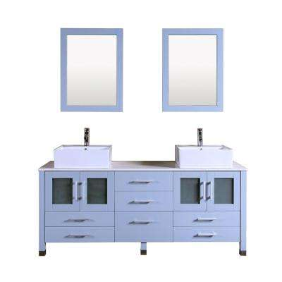 Duma 72 in. W x 22 in. D Double Vanity in Grey with Stone Vanity Top in White with White Basin and Mirror