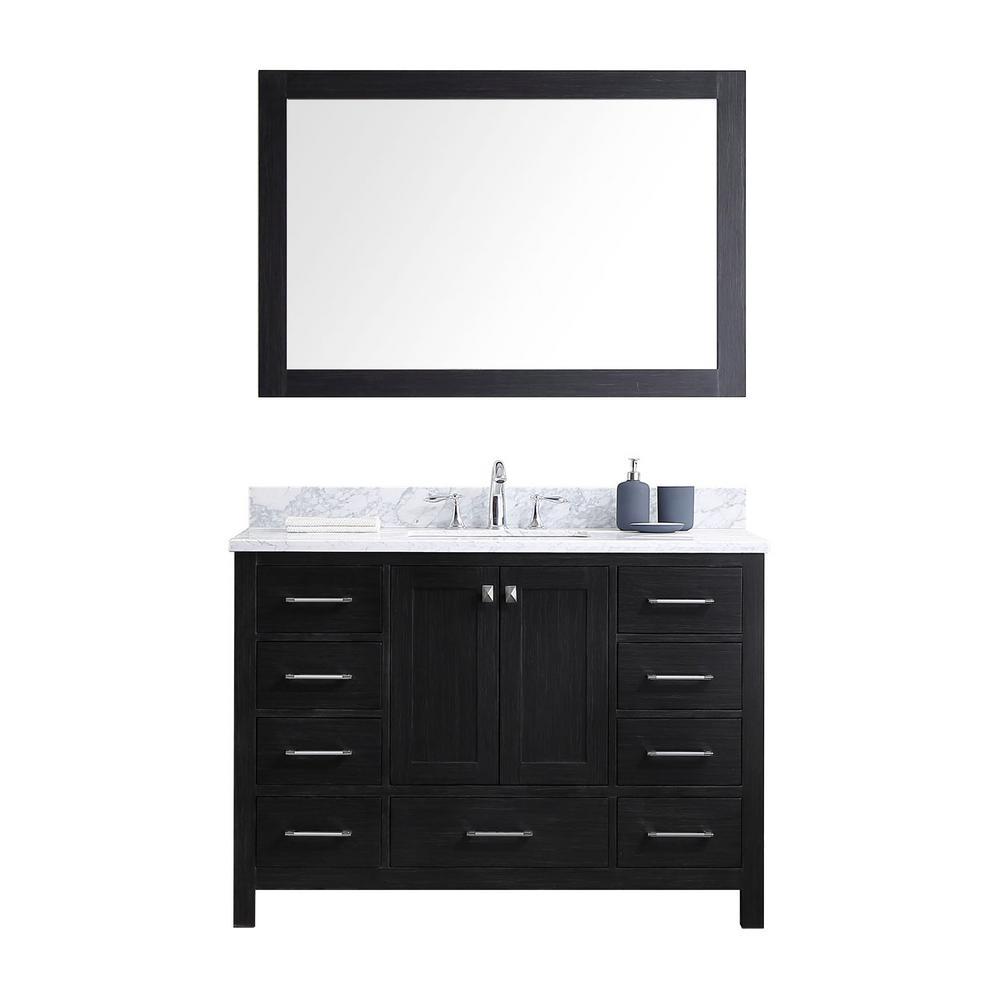Virtu USA Caroline Avenue 48 inch W x 22 inch D x 33.46 inch H Zebra Grey Vanity with Marble Vanity Top with White Basin... by Virtu USA